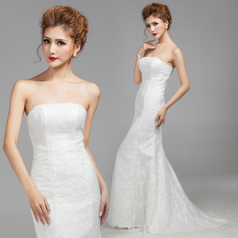 Image 2 - DM2670B#Spring summer new 2019 fish lace up tail sexy long Dresses bride toast wedding dress Gril Wholesale women clothing cheap-in Wedding Dresses from Weddings & Events