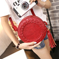 2016 new women handbag Korean fashion small Satchel Bag retro round braided bag Mini women message bag