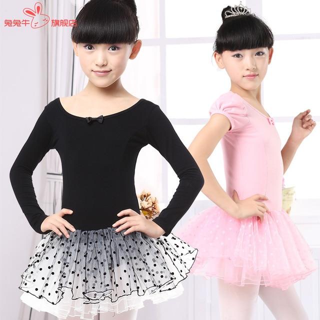 2061d089f292 Black Swan Costume Kids Long Sleeve Ballet Tutu Leotard Dance Wear ...