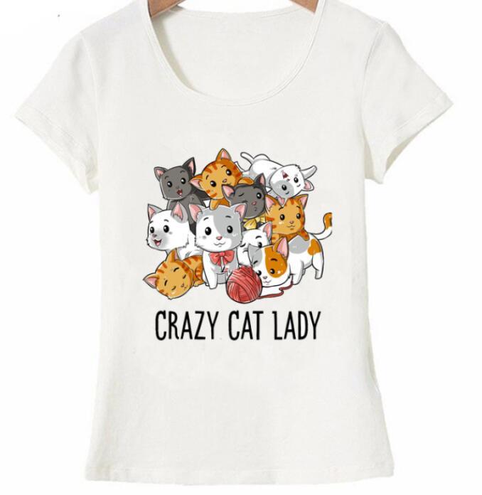 Chat fou dame T shirt drôle chats Kitty chaton Meme cadeaux T Shirt pour les amoureux de chat ete mignon femme T shirt dessus fr-in T-shirts van Dames Kleding op  Groep 1