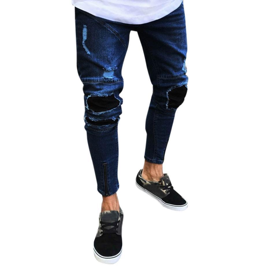 New 2018 Fashion Men Jeans Slim Biker Zipper Denim Skinny Frayed Casual Pencil Pants Distressed Rip Trousers Male Drop Shipping