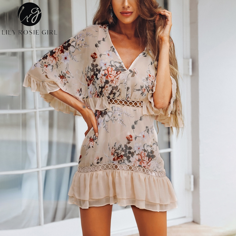 Print Ruffles Party Summer Dress 2018 Elegant Floral Boho Beach Dress Short Casual Sexy Women Dress Chiffon Hollow out