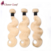Clover Leaf 3 Bundles 613 Blonde Brazilian Body Wave Hair Weave Remy Hair Bundles 613 Blonde Hair Human Hair Extensions 10 30