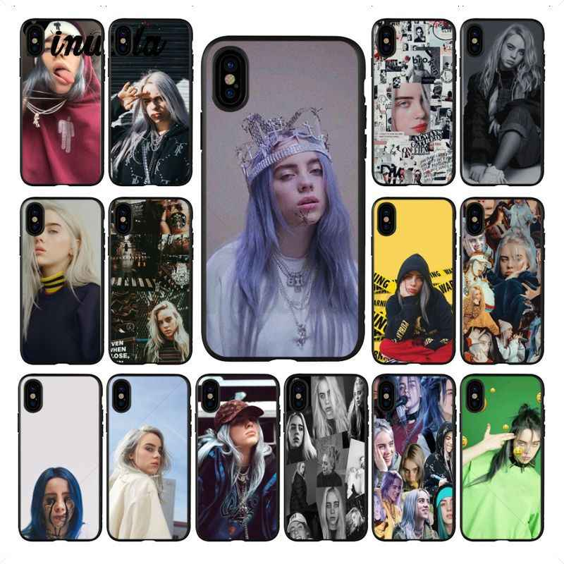 Billie Yinuoda Eilish hot Preto coque acessórios Do Telefone de Silicone Macio Caso para iphone 8 7 6 6 S Plus X XS MAX 5 5S SE XR Tampa