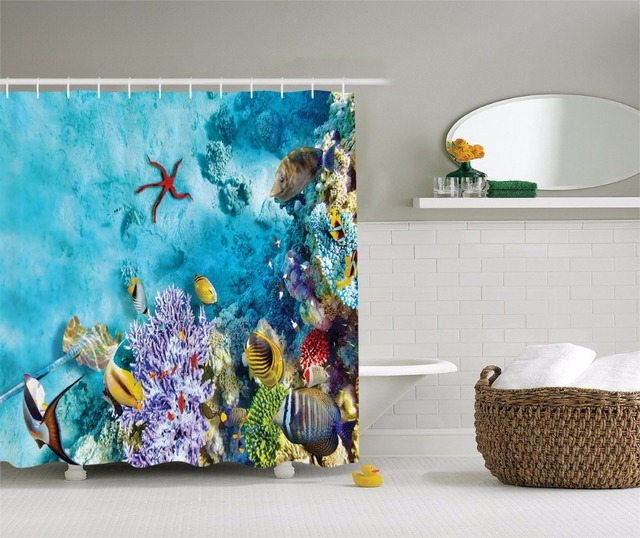 High Quality Arts Shower Curtains Tropical And Exotic Coral Reefs Fish Ocean Decor Bathroom Decorative Modern Waterproof