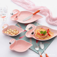Baby Creative Flamingo Ceramic Cutlery Plate Baby Bread Snack Dish Dessert Fruit Plate Baby Dinnerware Accessories For Baby Gift