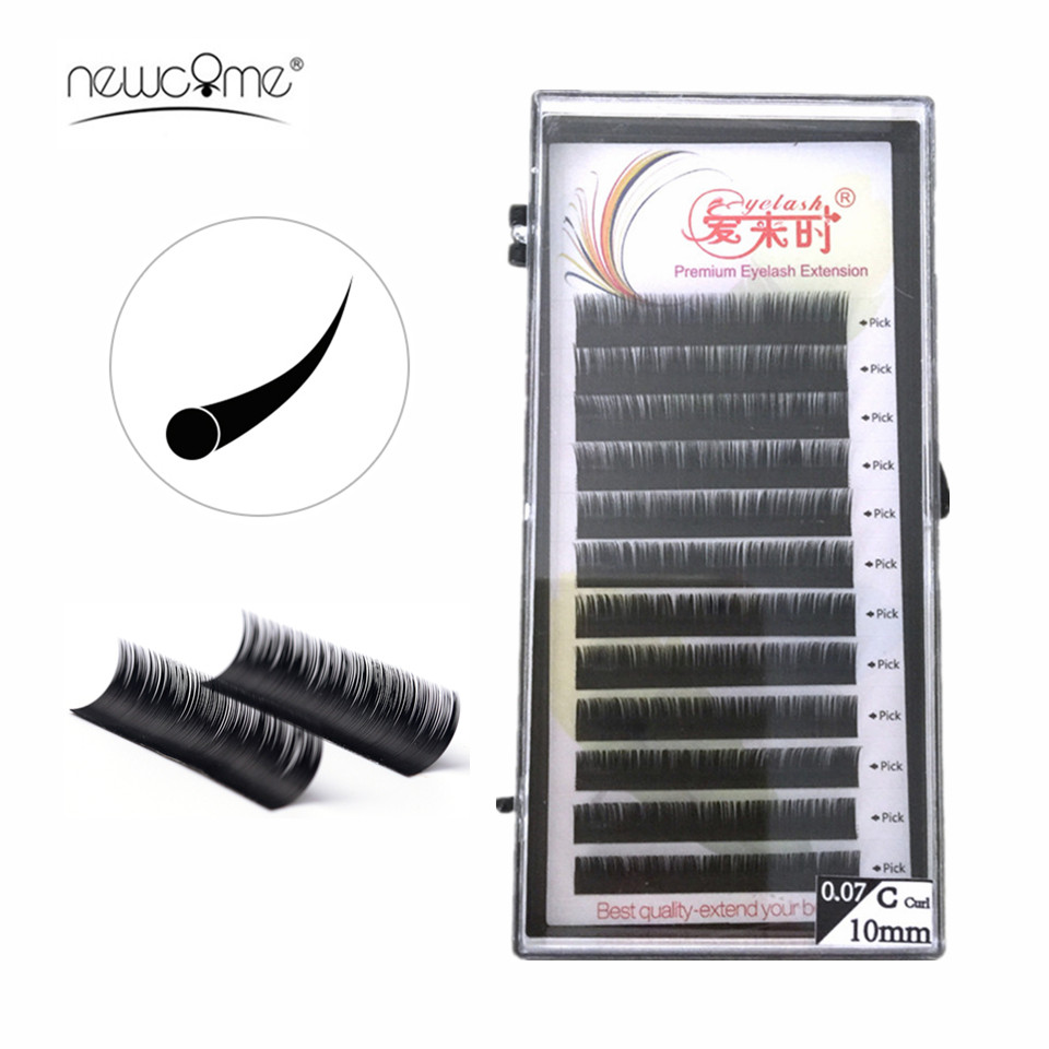 NEWCOME Natural Premium Eyelash Extension Single & Mixed 8-15mm Individual Eyelashes No Kink Faux Mink Lashes Extension