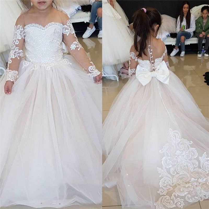 Vintage Flower Girl Dresses For Weddings Blush Pink Custom Made Princess Tutu Sequined Appliqued Lace Bow Kids First Communion G
