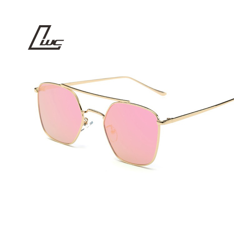 Moda Óculos De Sol Mulheres Famosa Senhora Marca Designer Twin-Vigas  Quadrados Óculos De Sol Femininos Espelho Revestimento Óculos Mulheres UV400 5f597f9f31