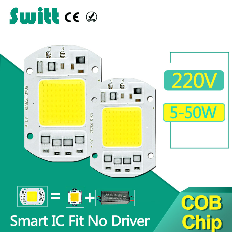 COB LED Chip 220V 50W 30W 20W 10W 5W Input Smart IC Fit No Driver High Lumens For DIY LED Flood Light Spotlight led cob chip 5w 20w 30w 50w 220v input