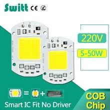 COB LED Chip 220V 50W 30W 20W 10W 5W Input Smart IC Fit No Driver High Lumens For DIY LED Flood Light Spotlight