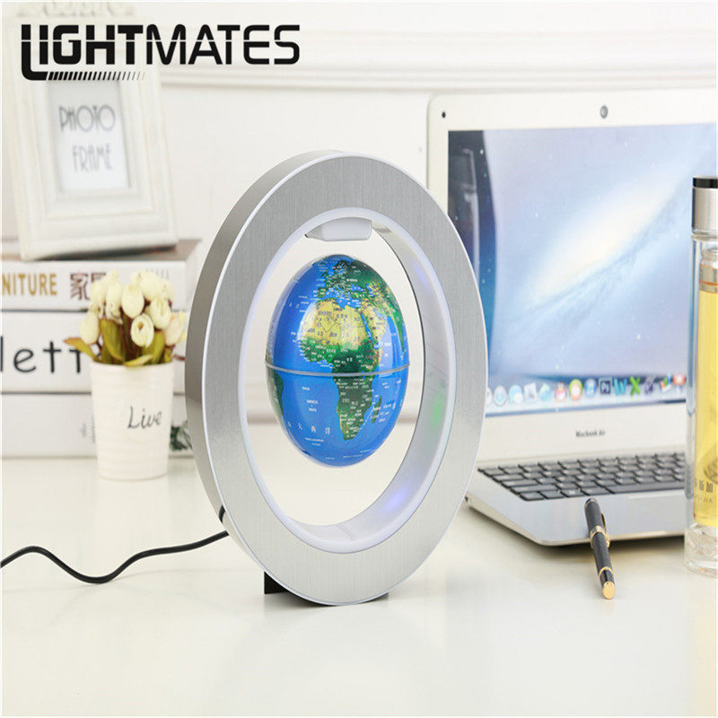 LIGHTMATES LED World Map Floating Earth Magnetic Suspension Anti-gravity Magic Maglev Globe 4 Inch Round Globe 4 Inch Round xinqite home furnishing ornaments product suspension globe round 3 inch 85mm blue english version of the spot