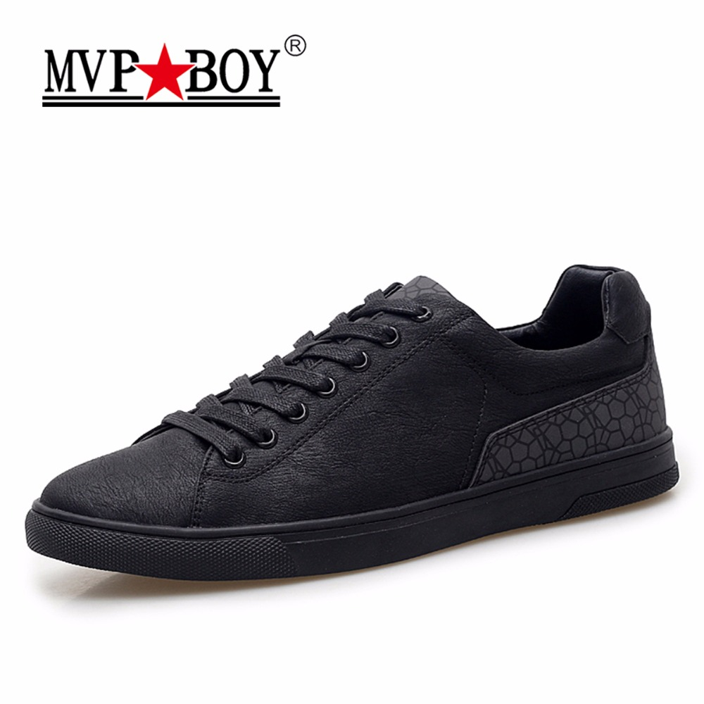 MVP BOY Brand Men Casual Shoes 2018 New Fashion Spring Black Casual Leather Shoes Men Breathable Lace-Up Flats Sneakers Men
