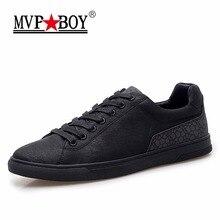 MVPBOY Brand Men Vulcanize Shoes 2017 New Fashion Spring Black Casual Shoes Men Breathable Lace-Up Flats Men Vulcanize Shoes
