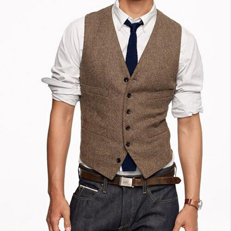 New Vest Men Custom Made Slim Fit Vest Brown Color Mens Wedding Dinner Evening Prom Party Vests