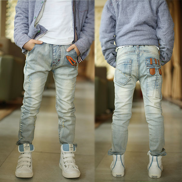 Children's clothing 2017 Spring and Autumn medium-large male child jeans,skinny pants light color boys jeans