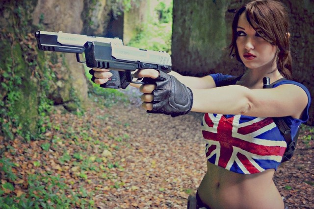 Cosplay girl with gun