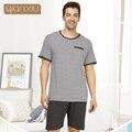Qianxiu пижамы для мужчин летние полосы Большой размер пижамы мужчины с коротким рукавом брюки пижамы установить