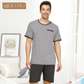 Qianxiu Pajamas For Men Summer Stripes Plus Size Sleepwear Men Short-sleeve Pants Pajama Set