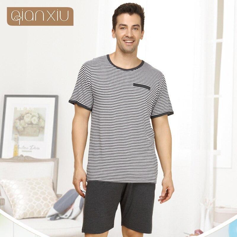 como encontrar claro y distintivo mejor selección de € 11.95 58% de DESCUENTO|Qianxiu pijamas para hombres verano rayas ropa de  dormir hombres pantalones de manga corta Conjunto de pijama 1414 S-in ...