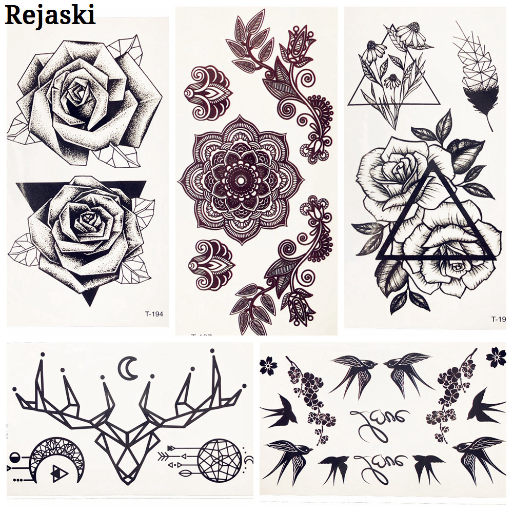 Black Triangle Rose Flower Fake Temporary Tattoo Sticker Women Girl Body Hands Ear Art Tattoo Children Waterproof Tatto 3D Kids