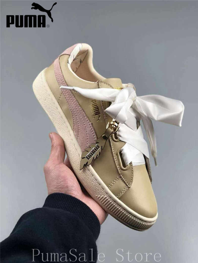 Original Puma Basket Heart Platform Festival FM Women s Shoes Silk Bow  Shoes Women Sneakers Lace Up fe4b280ce