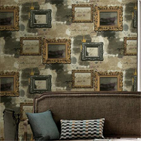 beibehang wall American style retro frame picture frame wallpaper bedroom den living room sofa TV background wall paper grey