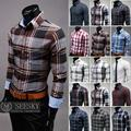 Fashionable Joker 2016 New Arrival Plaid Shirt Male Fashion Casual Cotton Long Sleeve Striped Shirt Camisa masculina19 color