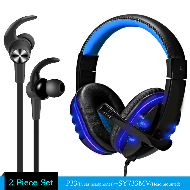Gaming Headphone casque Soyto Sy733 Best Computer Stereo Deep Bass Game Earphone Headset with Mic LED Light for PC Gamer + P33