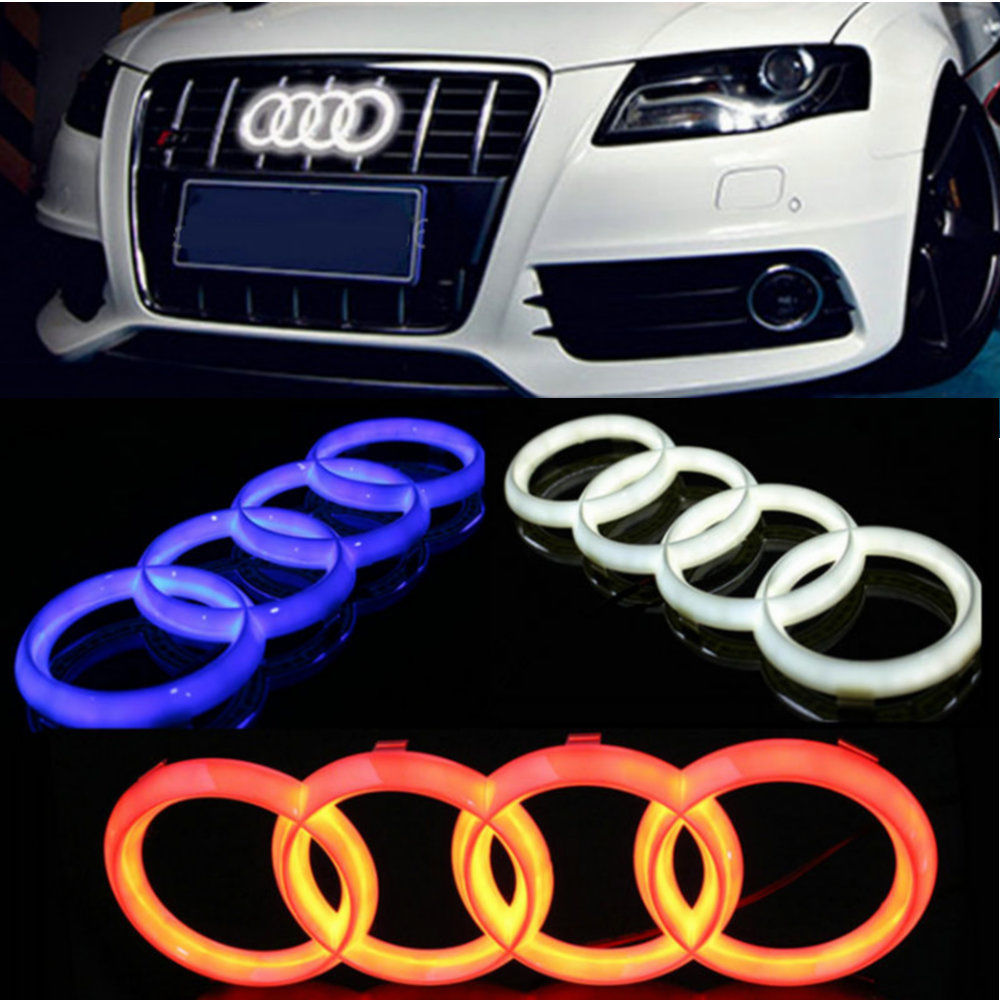 1Pcs Blue/White/Red Front Head Car Led Grille BlLED Logo Emblem Light For Audi A1 A3 A4 A4L A5 A6 A7 Q3 Q5 Q7 4D led logo light front grille led emblem logo light 4 colors abs decorative grill lamp for f ord r anger t7 2016 2017 car styling