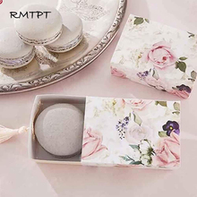 RMTPT 50pcs/lot Floral Candy Gift Box Drawer Design Party Favor Boxes Craft Paper with Tassel for Pulling