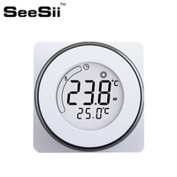SEESII 85 250VAC LCD Display Touch Screen Electric Heating Thermostat Temperature Controller White Backlight Portable For Home