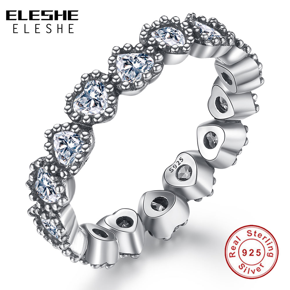 ELESHE Real 925 Sterling Silver Stackable Heart Finger Rings With Crystal Zircon Wedding Ring For Women Jewelry Christmas Gift