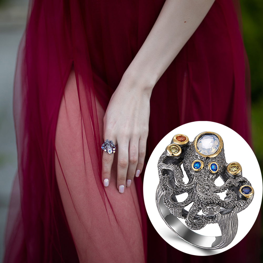 Cute Octopus Ainimal Big Rings Synthetic Opal Stone Cocktail Jewelry Unique design Great Accessories New Look Finger Ring in Rings from Jewelry Accessories