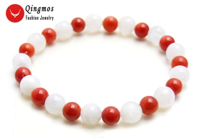 Qingmos Fashion White Moonstone Stone Bracelet for Women with 8mm Natural Stone and 5mm Red Round Coral Bracelet 7.5'' bra414