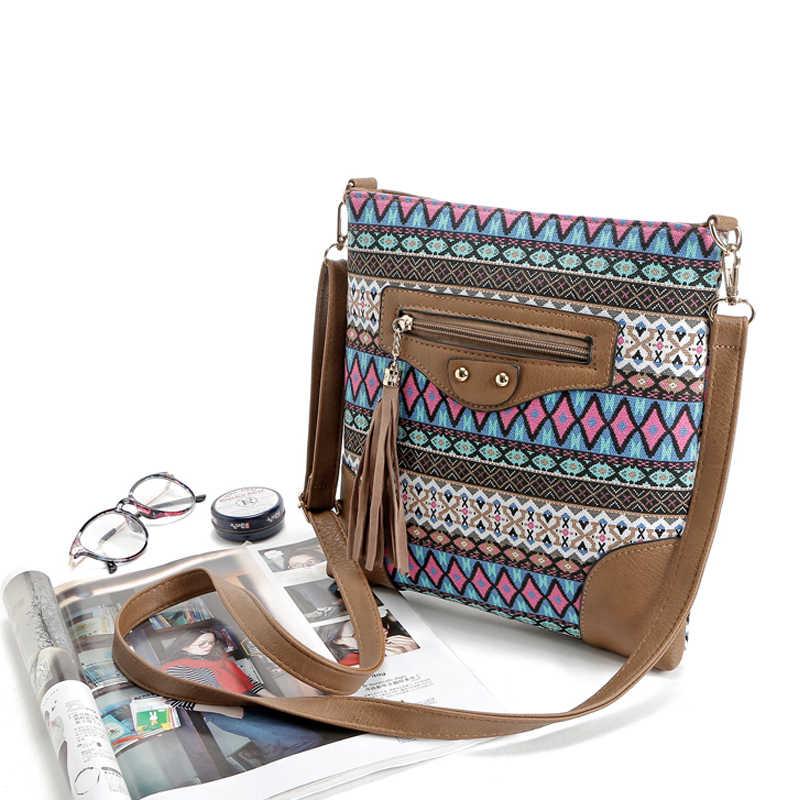 Saco da lona do estilo boêmio para as mulheres crossbody messenger bags lady pequeno nacional do vintage bolsa de ombro bolsa feminina sac a principal