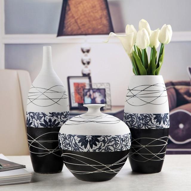 Classic Chinese Ceramics Flower Vase Set Handmade Pottery Jardiniere