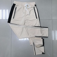 Men Hip Hop Zipper Bottome Track Pants Zipper Pocket Sweatpants Elastic Waist Side Striped Boys Pants