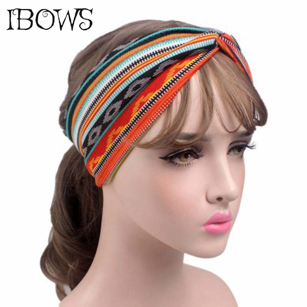 Fashion Bohemian Style Headband Boho Cross Floral Turban Striped Elastic Hair Band For Women Girls Boutique Hair Accessories shanfu women zebra stripe sinamay fascinator feather headband fashion lady hair accessories blue sfc12441