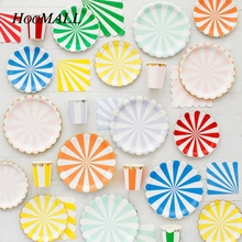 Hoomall 44PCs/set Disposable Tableware Set Gilding Striped Paper Plates Cups Napkins Carnival Tableware Party  sc 1 st  AliExpress.com & Buy carnival paper plates and get free shipping on AliExpress.com