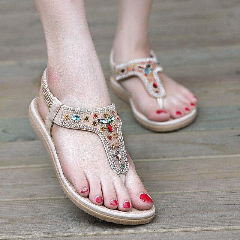 ФОТО 2017 New Ethnic Women Sandals Bohemian Diamond Foot Pinhole Flip Women's Shoes Wholesale