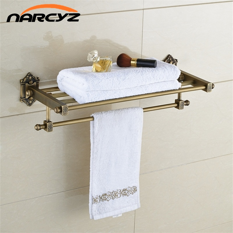 Bathroom Shelves Dual Tier Brass Wall Bath Shelf Towel Rack Holder Hangers Rails Home Decorative Accessories Towel Bar 9129K whole brass blackend antique ceramic bath towel rack bathroom towel shelf bathroom towel holder antique black double towel shelf