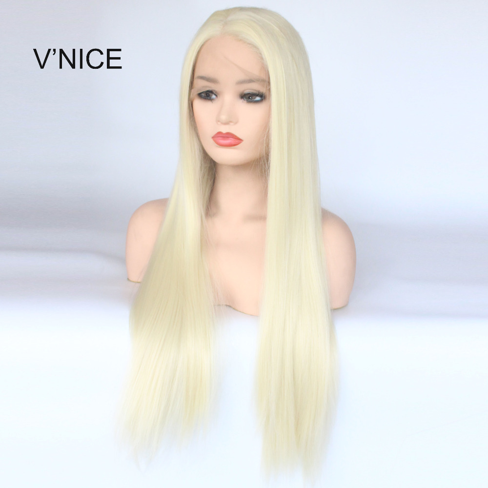 V NICE Platinum Blonde 613 Colors Long Straight Lace Front Wig Synthetic Hair High Temperature Fiber