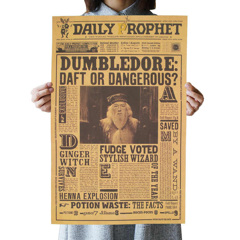 OLOMM harry potter poster Albus Dumbledore Kraft Paper Wall Sticker Bar Cafe Home Decorative Painting movie poster harry potter