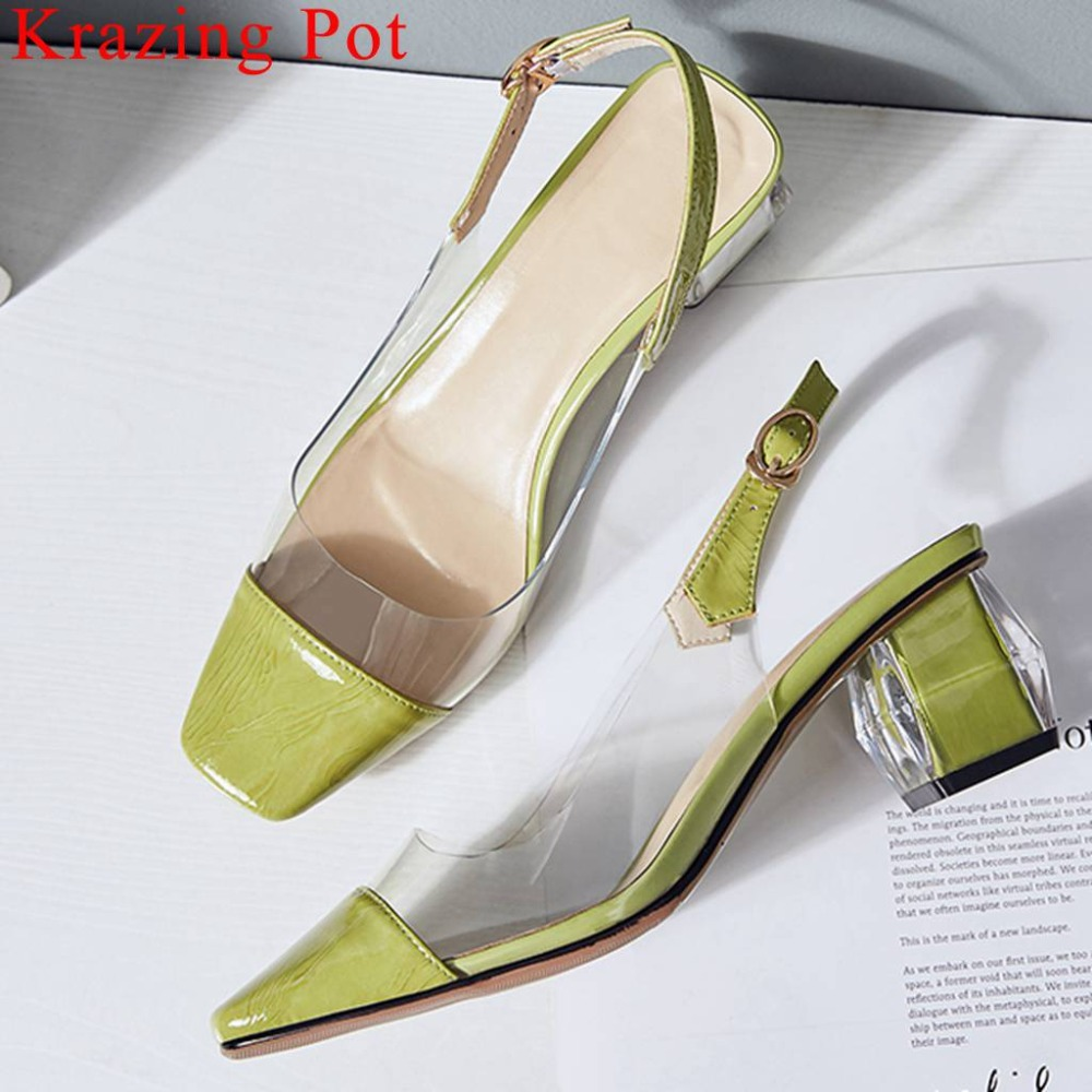 2019 genuine leather jelly shoes slingback thick med heels buckle strap square toe plus size dinner