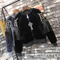 Fashion luxury velvet jacket women Winter Rivet Tassels Long Sleeve bomber Thick Coats women basic coat  jackets abrigos mujer