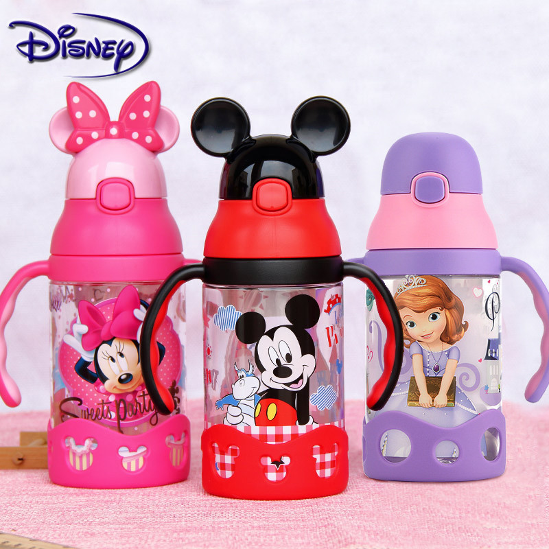 Disney Minnie Mickey Mouse Cups Cartoon Plastic Solid Feeding Student Convenient Outdoor Child Sports Bottle With Straw 400ml