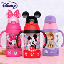 Disney Minnie Mickey Mouse Cups Cartoon Plastic Solid Feeding Student Convenient Outdoor Child Sports Bottle With Straw 400ml(China)