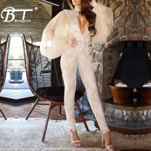 Beateen New Hot Lace Floral Jumpsuits Fashion Deep V Long Sleeve Sexy Club Party Autumn(China)