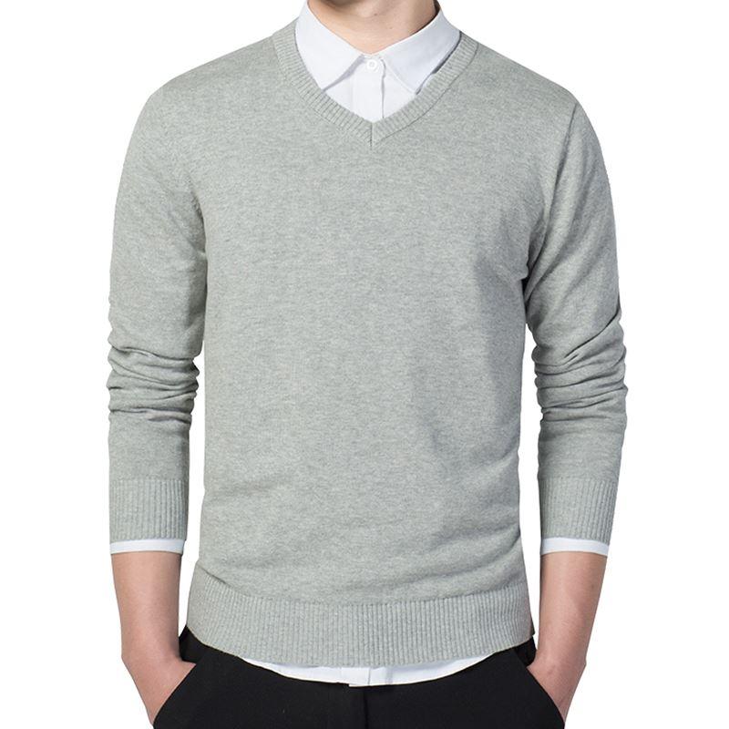 Loldeal Men's Premium Essentials Fine Gauge Solid V-Neck Sweater
